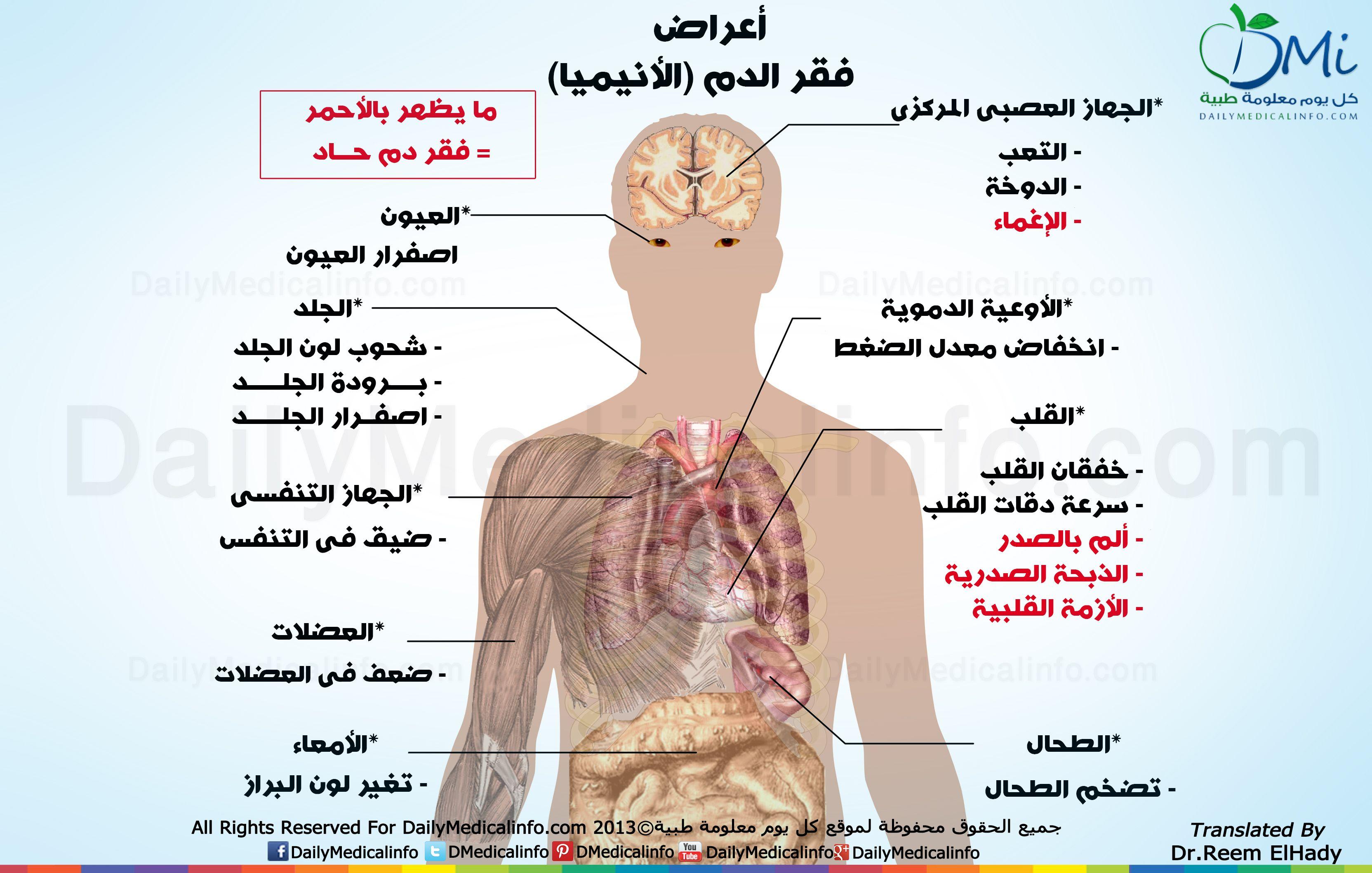 انفوجرافيك ما هى أعراض فقر الدم الأنيميا انفوجرافيك طبية كل يوم معلومة طبية Infographic Health Medical Information Infographic