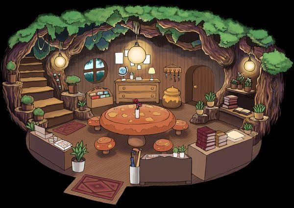 背景 学生作品 きのこテーブルの部屋 エリのイラスト