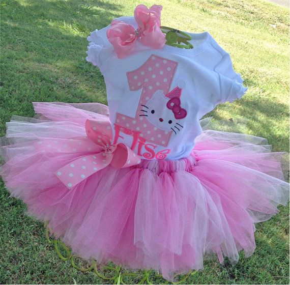 Hello Kitty Pink Turquoise 1st Birthday Outfit Onesie Tutu FREE Hair Bow Personalized Hello Kitty Baby Toddler Girls Tutu Birthday Outfit
