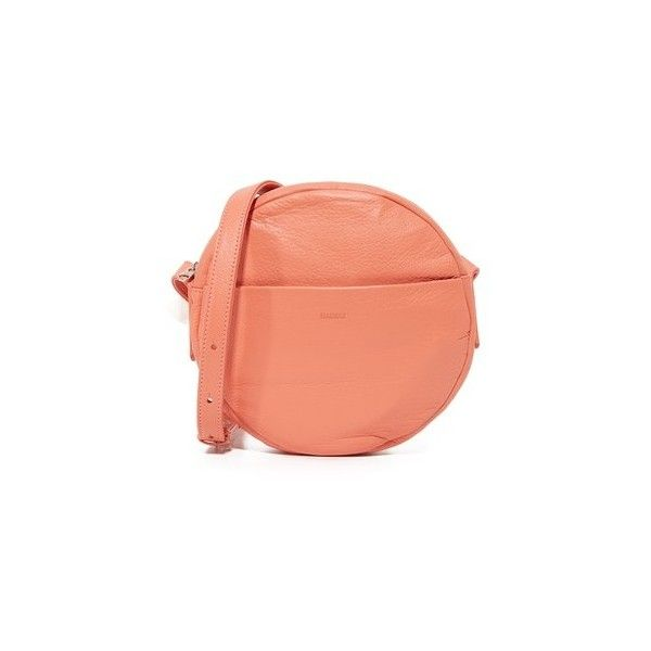 BAGGU Circle Cross Body Bag ($160) ❤ liked on Polyvore featuring bags, handbags, shoulder bags, melon, leather crossbody, red shoulder bag, red purse, crossbody purses and crossbody handbags