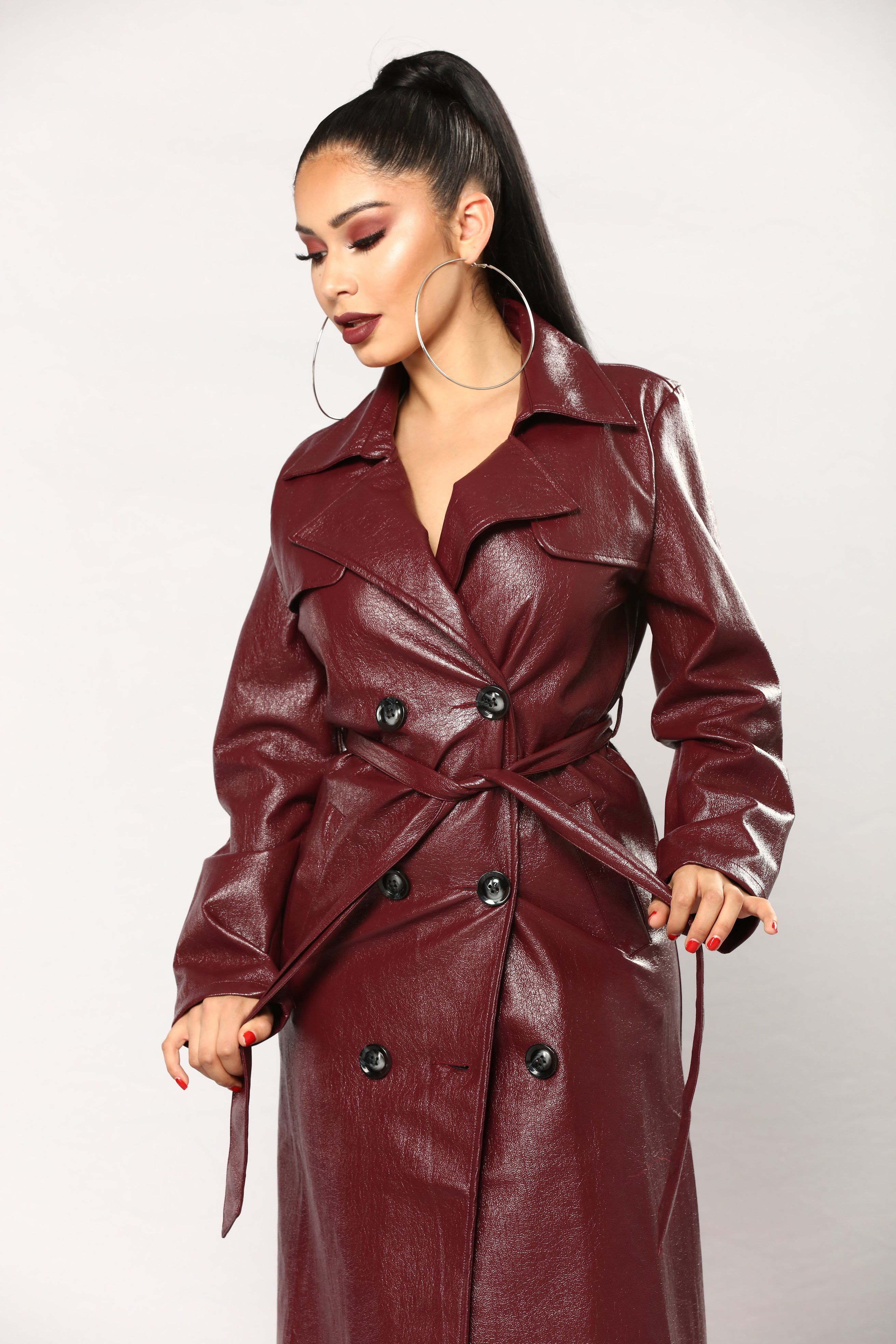 If Looks Could Kill Jacket Burgundy Long leather coat