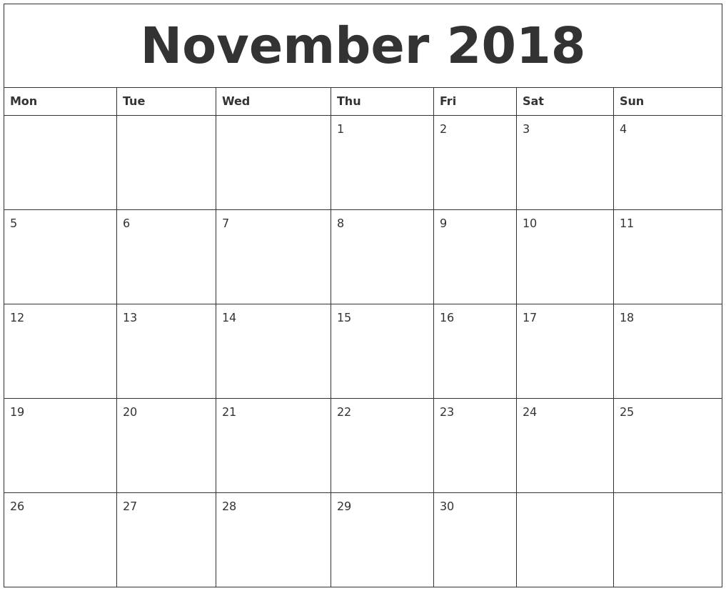November calendar for 2018 invoice pinterest calendar november calendar for 2018 pronofoot35fo Images