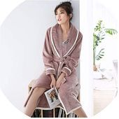 New Home Wear Men Women Flannel Winter Bathrobes Long Coral Thick Warm Simple Couple online  New Home Wear Men Women Flannel Winter Bathrobes Long Coral Thick Warm Simple...