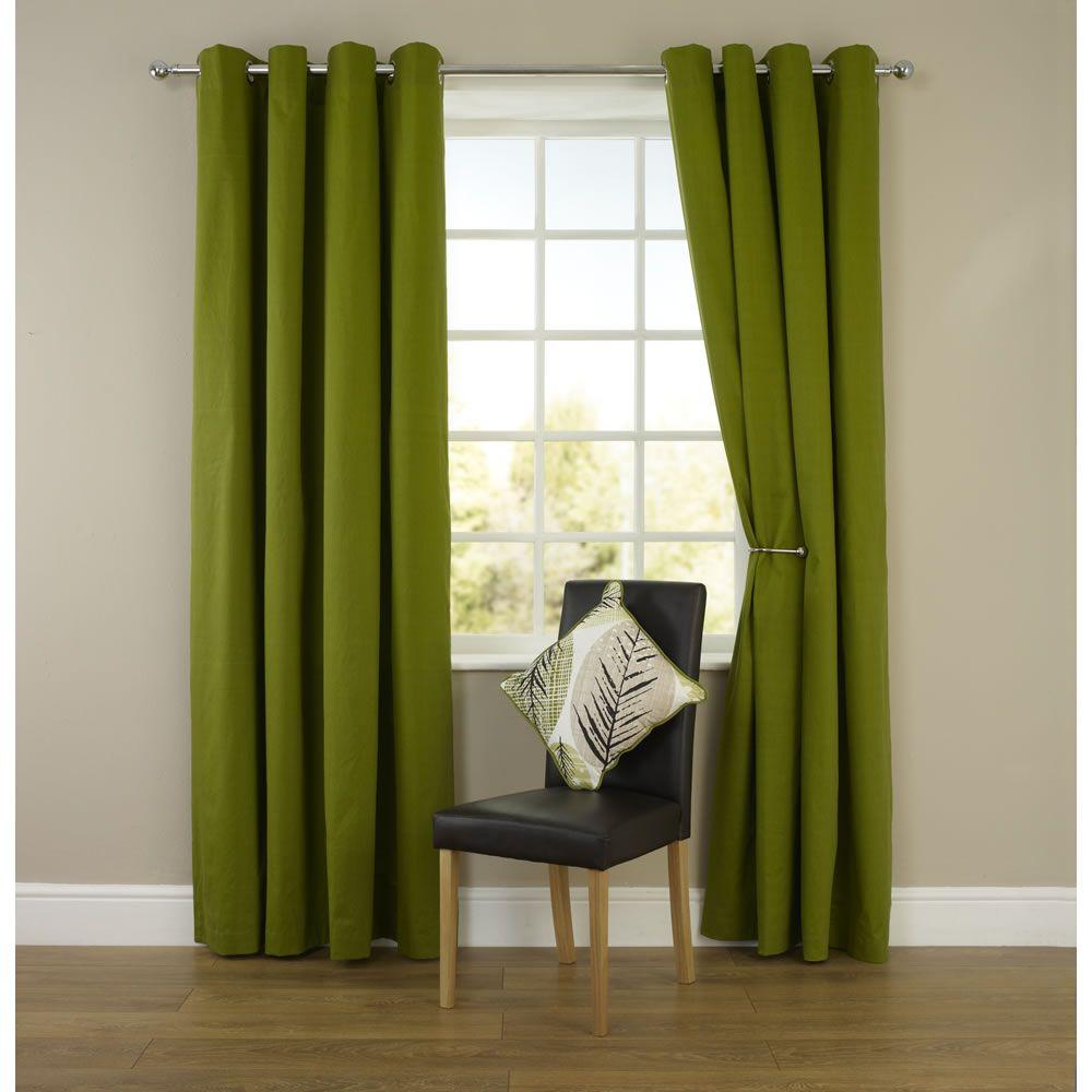 Bedroom Curtains Small Windows Bedroom Wallpaper And Matching Bedding Diy Wall Art Ideas Bedroom Bedroom Design Kids: Wilko Twill Eyelet Curtains Green 228cm X 228cm At Wilko