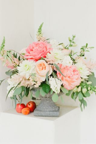 Pink peony and peach centerpiece   Claire Graham Photography    see more on: http://burnettsboards.com/2015/04/coral-peach-wedding-editorial/