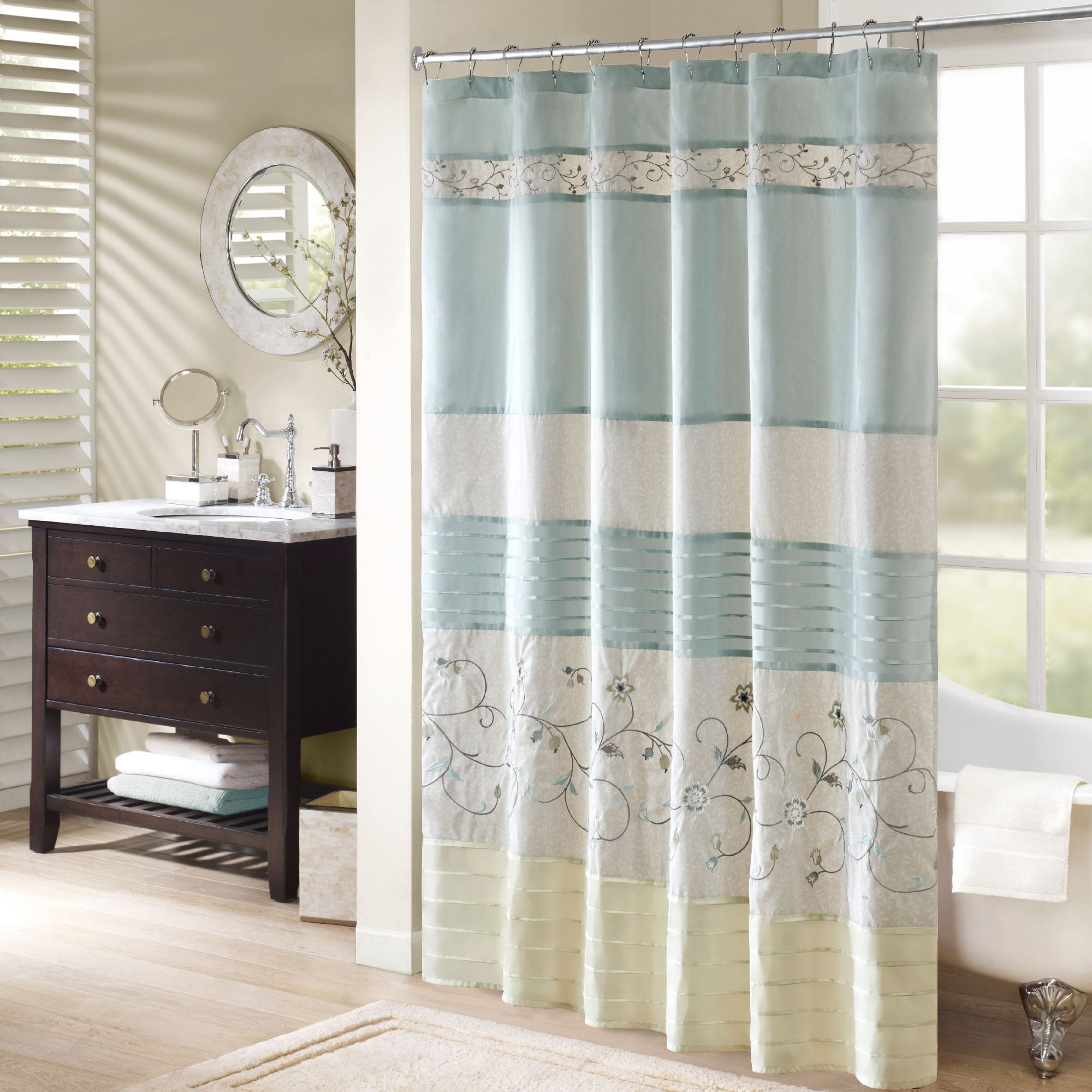 Madison park belle faux silk embroidered floral shower curtain red
