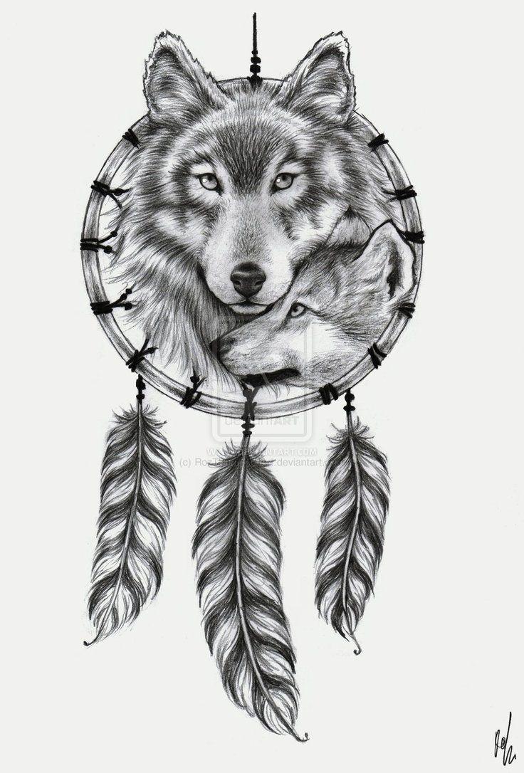 Lobo atrapasueño   Animals   Pinterest   Lobos, Tatuajes y Atrapasueños