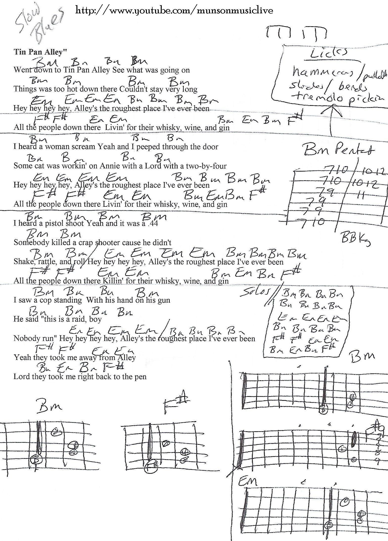 Tin Pan Alley Guitar Chord Chart Guitar Lesson Chord Charts