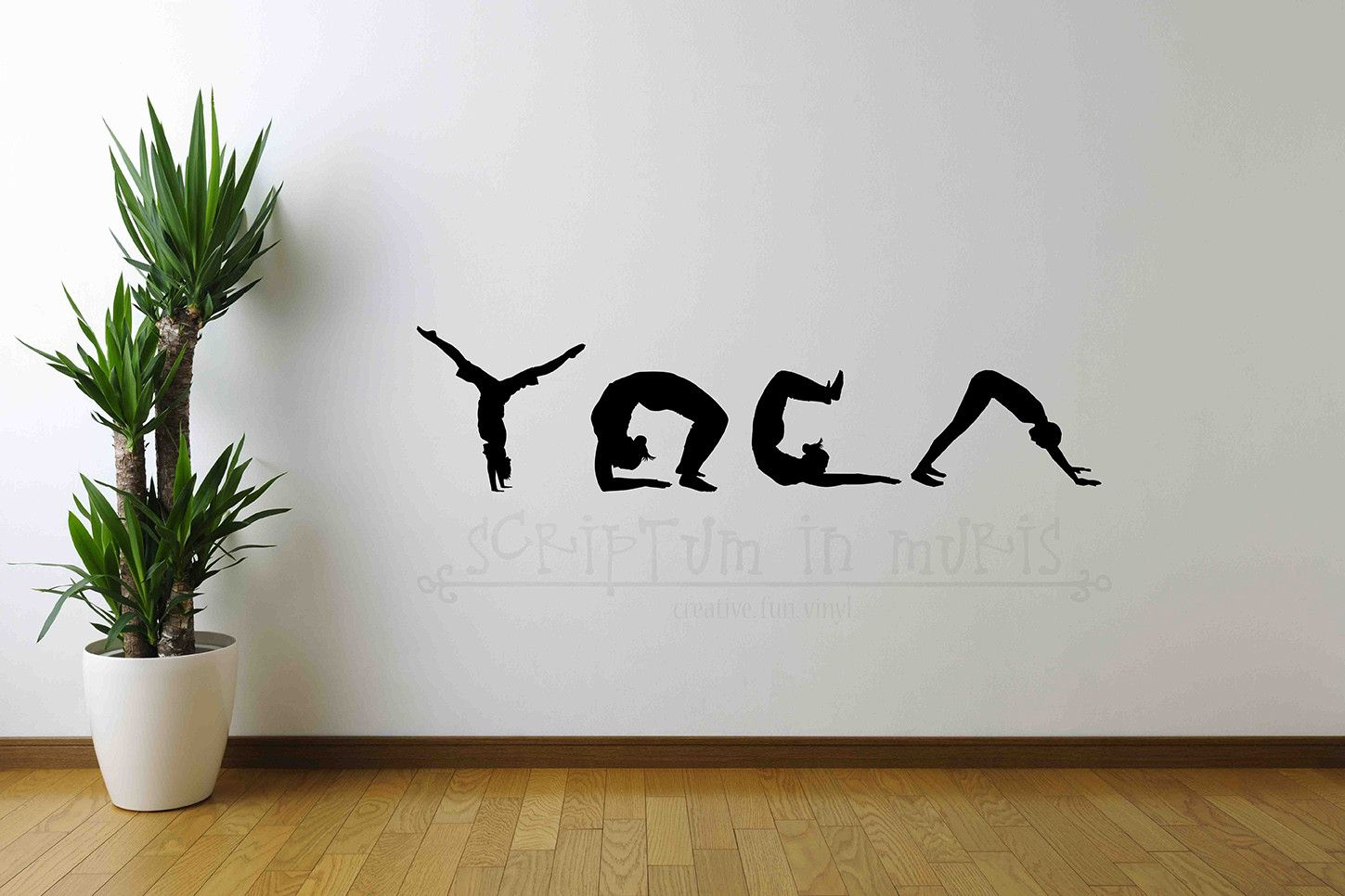 Yoga Spelled In Silhouette Studio Wall Vinyl Decal Wall Vinyl - Yoga studio wall decals