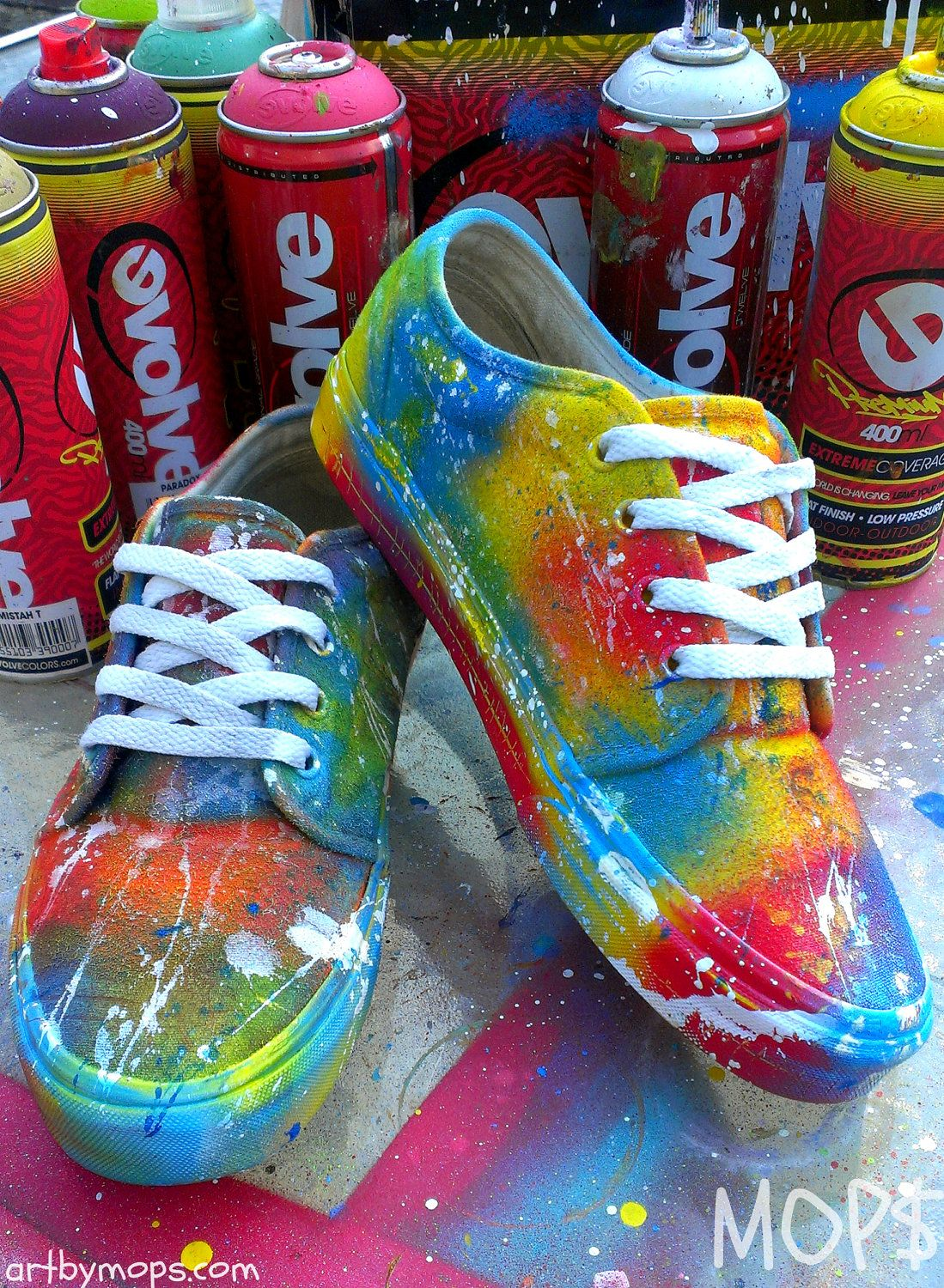 CUSTOM Painted VANS Shoes by MOPS in a Graffiti by AbstractCeleb ...
