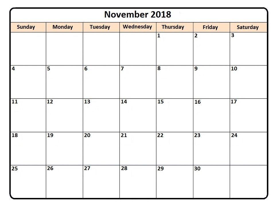 print november 2018 word calendar 2018 Calendars Calendar, 2018