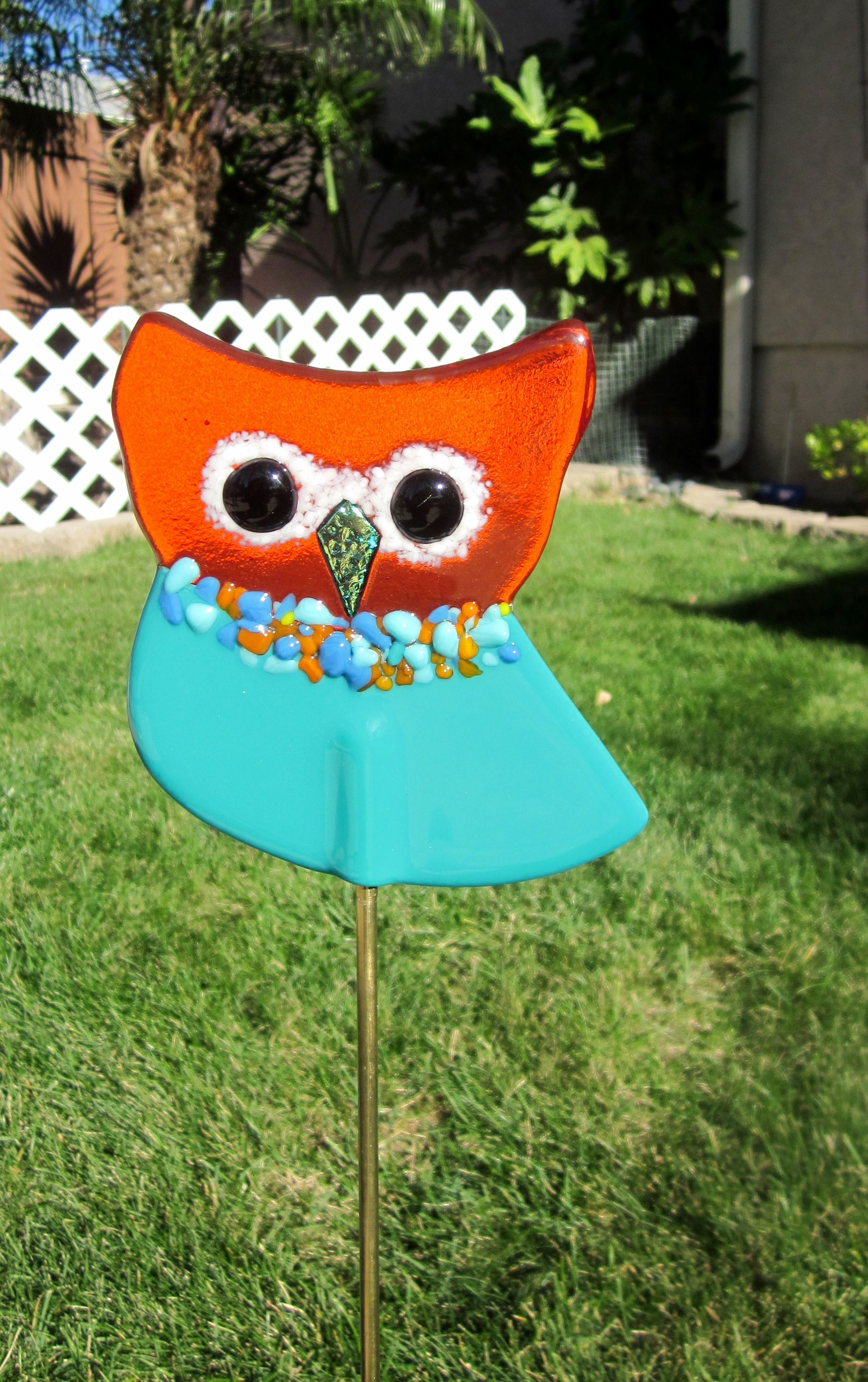 Fused Glass Orange And Teal Owl Garden Stake Www.ebay.com/usr/