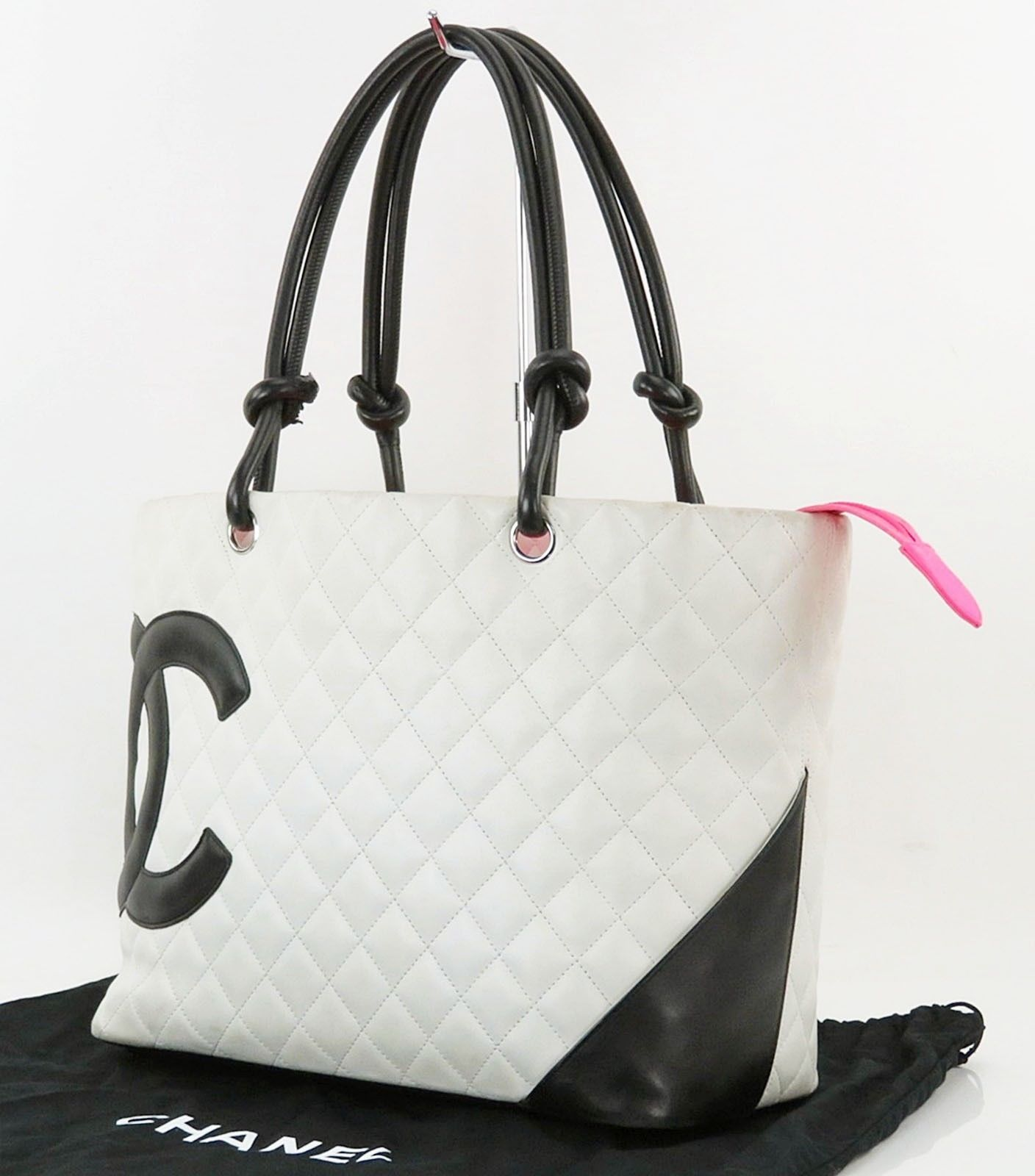 d2f432ac59a7 Authentic CHANEL Cambon Line CC White Quilted Leather Tote Bag Purse  28184