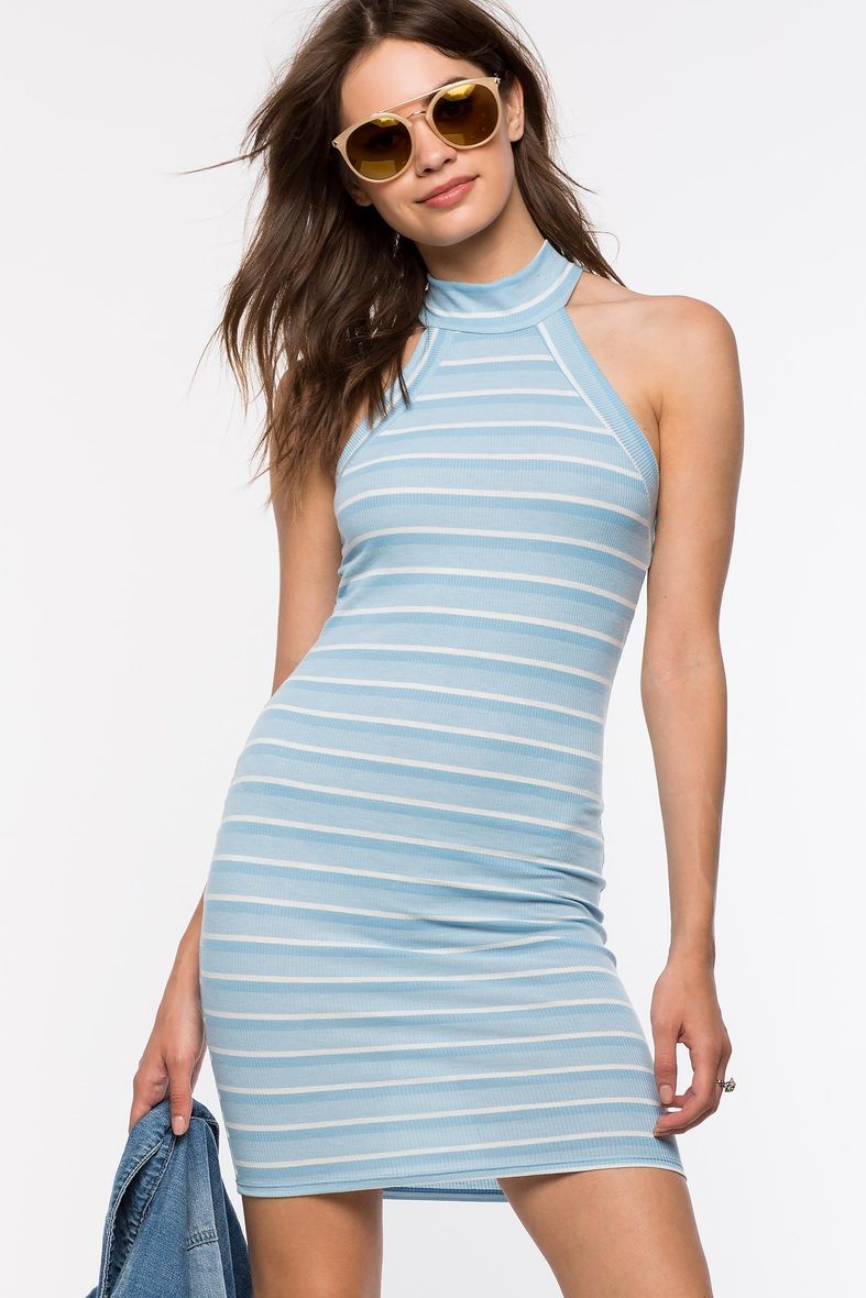 Women S Bodycon Dresses Soft Stripe Halter Dress Striped Halter Dress Women Bodycon Dress Dresses [ 1180 x 787 Pixel ]
