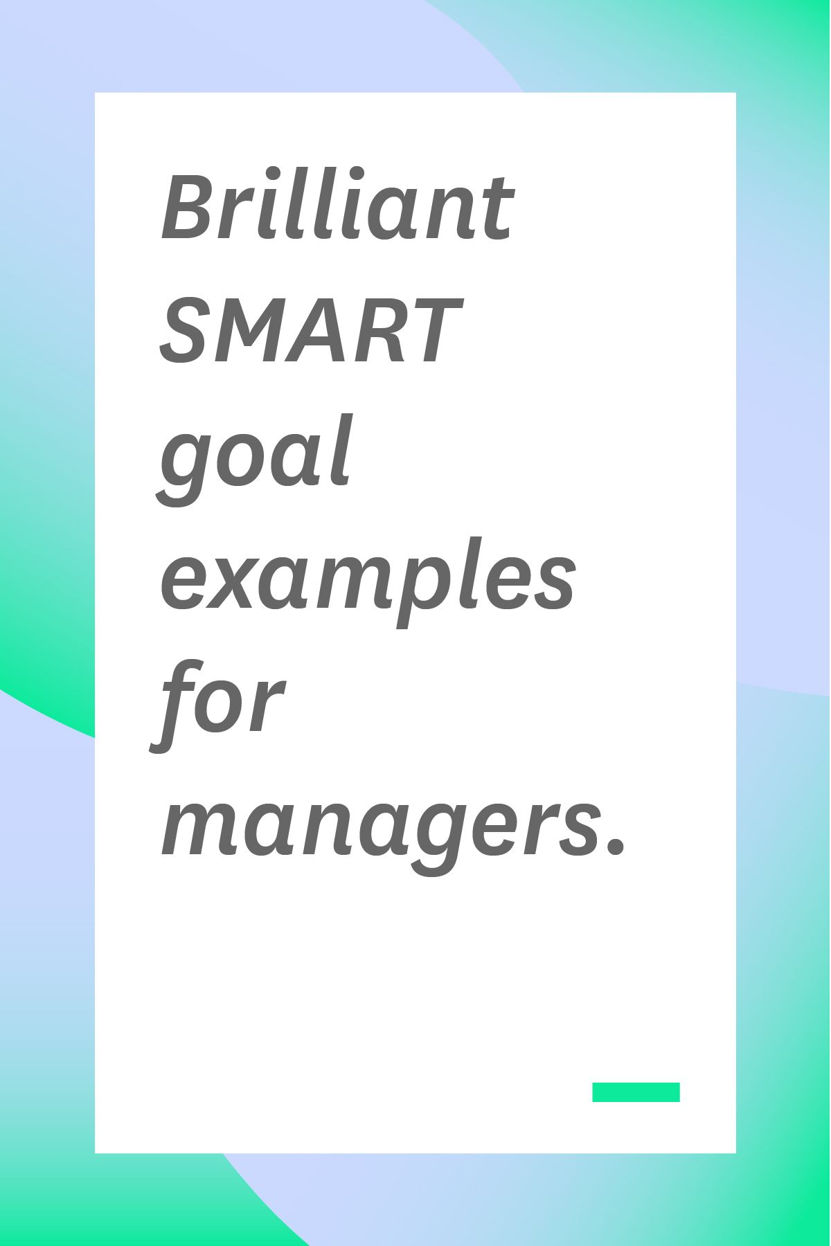 Brilliant Smart Goal Examples For Managers