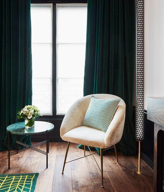 Chic Decor Emerald Green Curtains Le Roch Hotel Velvet Bedroom