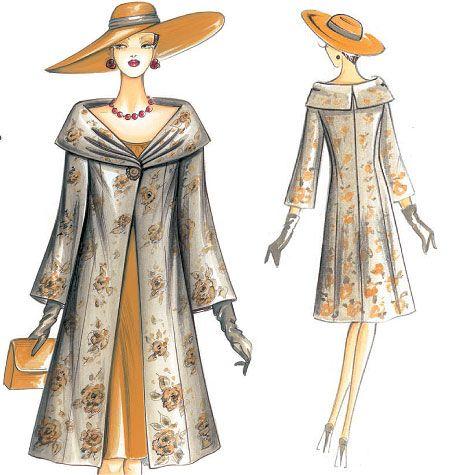elegant semi-fitted A-line coat | F3010 | Marfy Coat | Coats / Capes ...