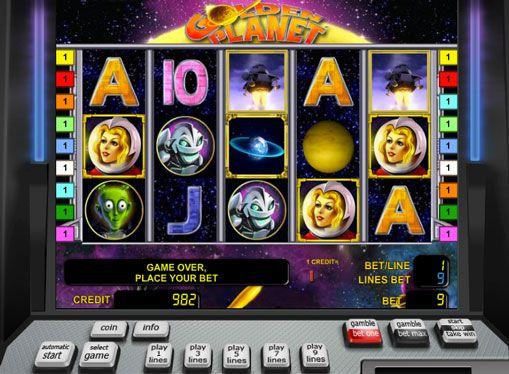 Golden Planet Glücksspiel. Golden Planet Spielautomat von Novomatic Unternehmen der Raumfahrt gewidmet. Es hat 5 Walzen und 9 Gewinnlinien. Auch hat der Schlitz ein Wild-Symbol und ein Scatter. Deutliche Erhöhung der Gewinne, um die Bonusrunde und verdoppelt zurück zu helfen.  Die Maschine verfügt über günstige Verh