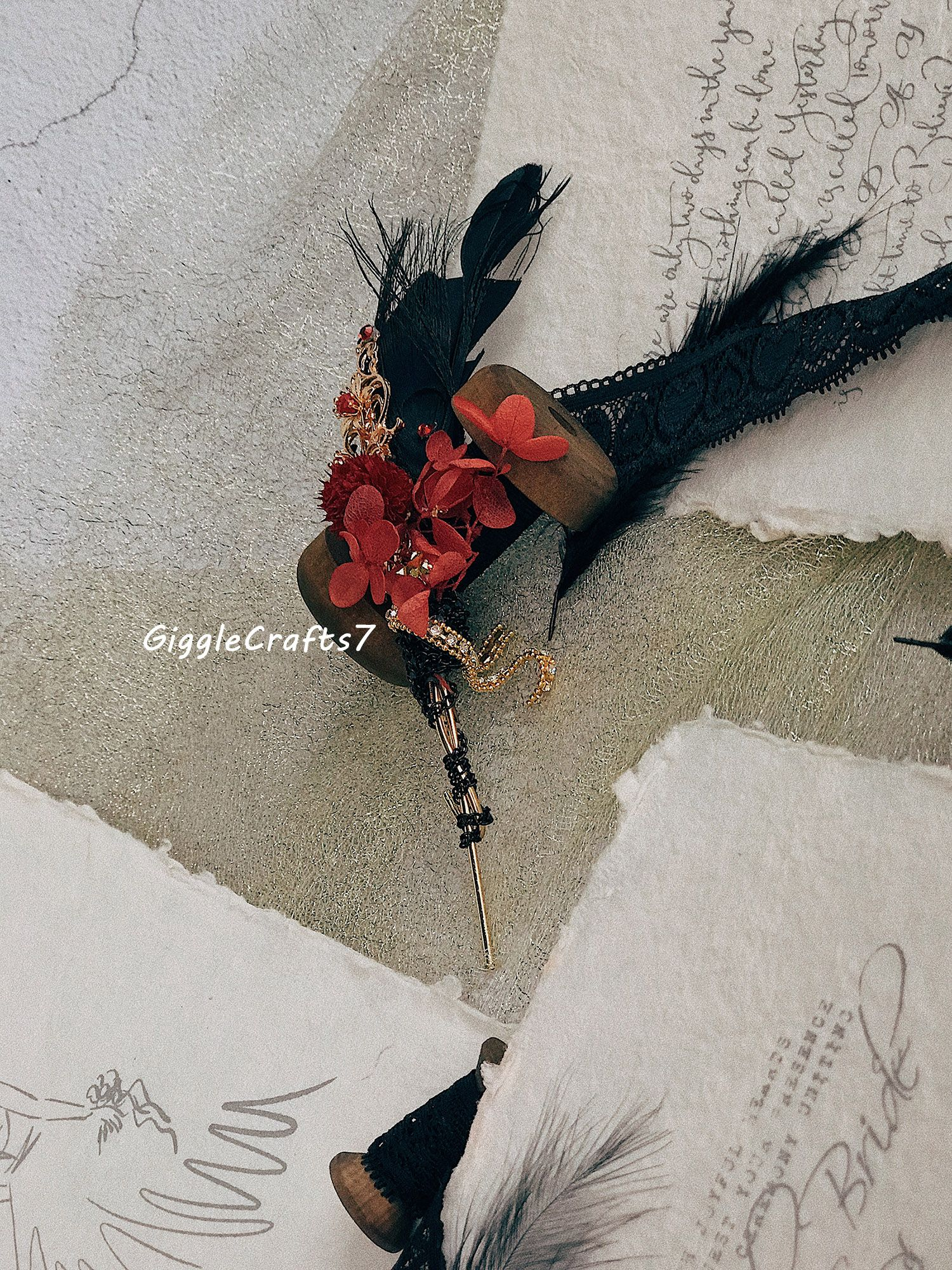 Vintage Gothic Wedding Corsage For Groom Groomsmen Black And Red
