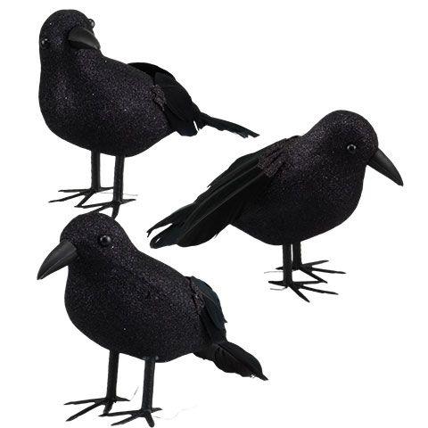 Bulk Glittery Feathered Foam Crows at DollarTree Crows - bulk halloween decorations