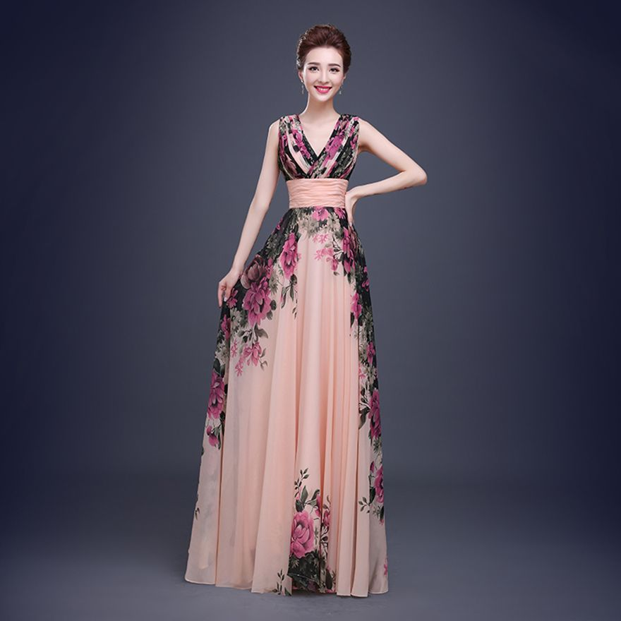 Floral Print Cheap Short Bridesmaid Dresses Formal Gowns Long ...