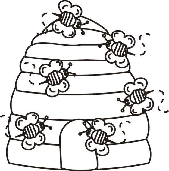 Bee Home Coloring Page Bee Coloring Pages Bee Printables Bee Cards