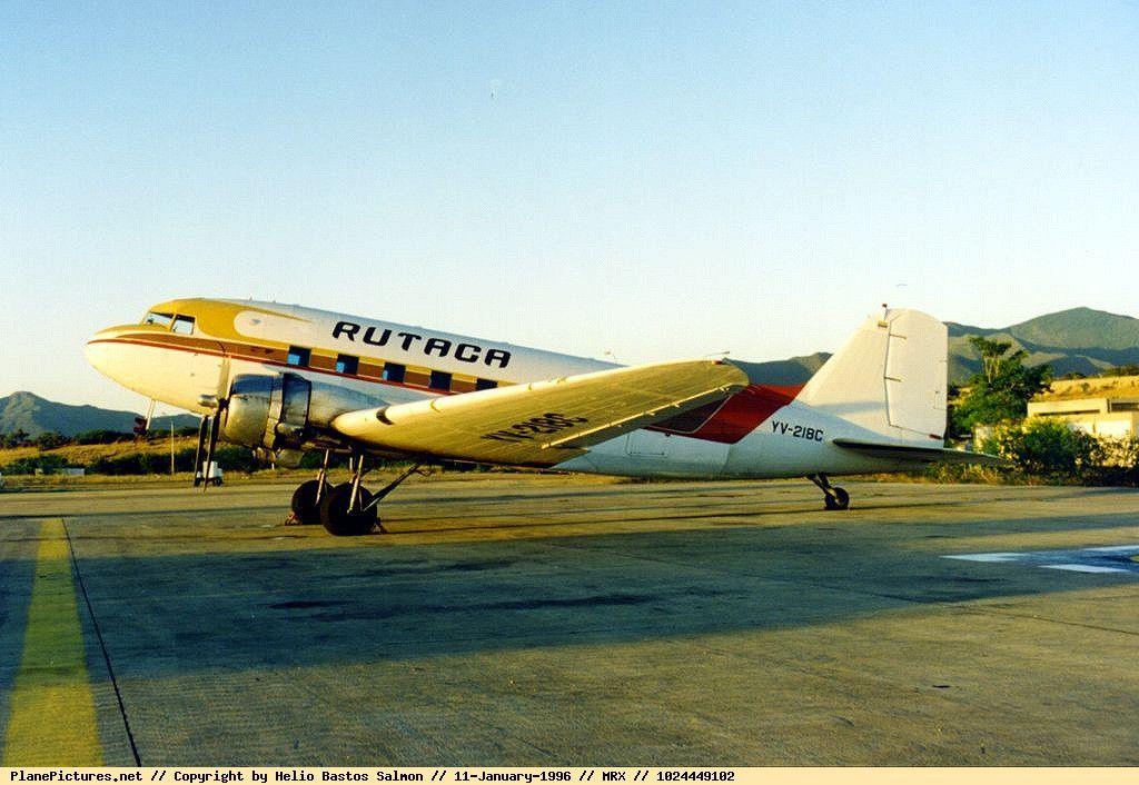 Douglas DC-3C (YV-218C, c/n 43079) of RUTACA at Margarita airport on Jan 11, 1996.