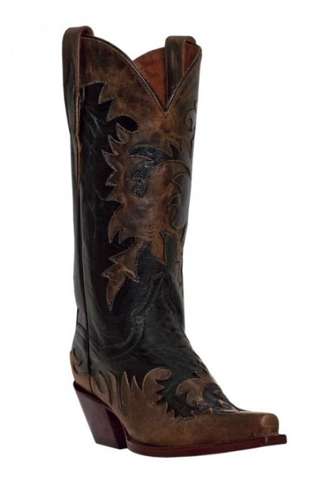 This is a high quality brown and black leather boot.