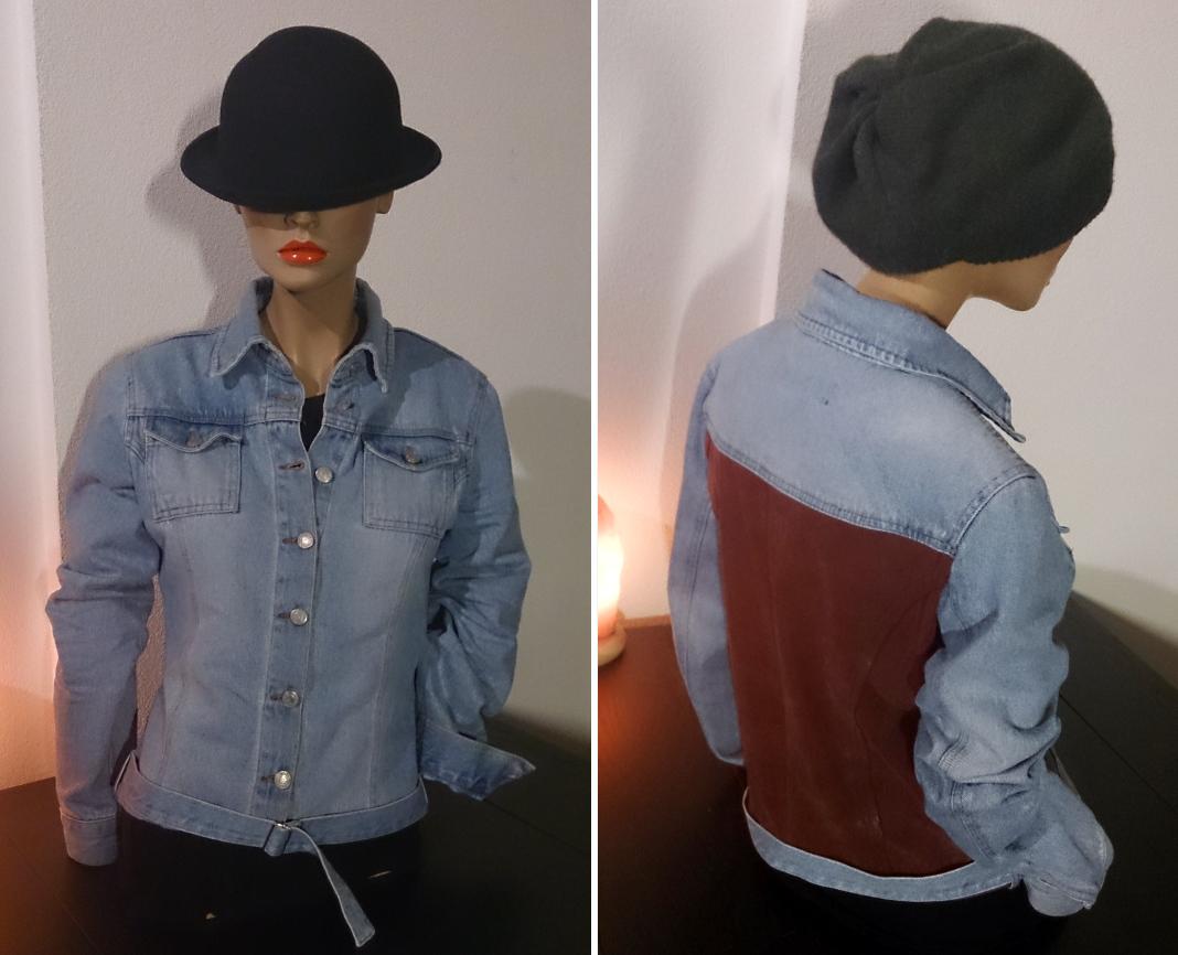 Spijkerblouse/jasje, gemaakt vanuit een spijkerjurk en achterkant vervangen