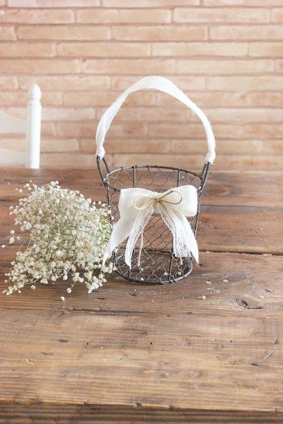 Elfenbein Creme Sackleinen Rustikale Hochzeit Blumenmadchen Korb