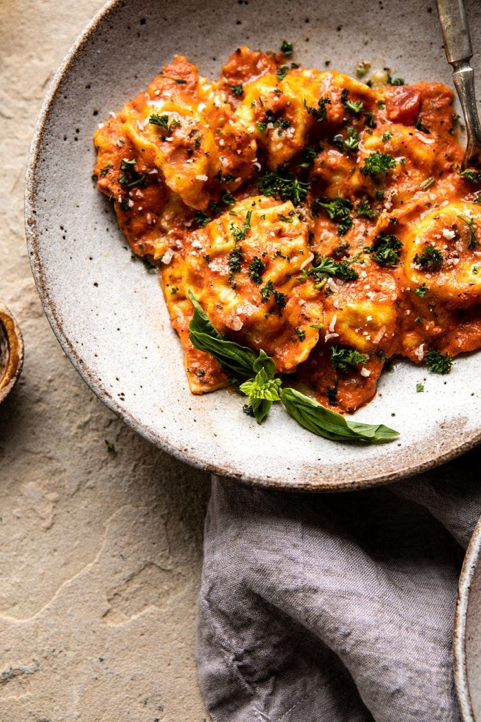 Brown Butter Lobster Ravioli with Tomato Cream Sauce. - Half Baked Harvest