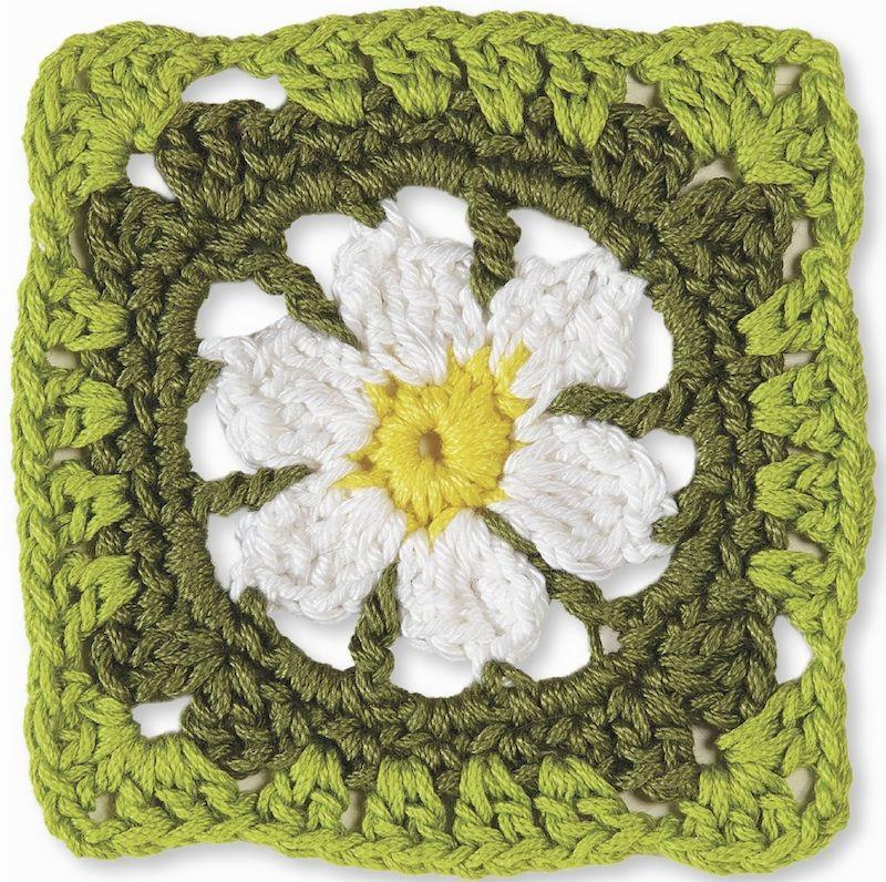 Crochet pattern: April Daisy Square by Margaret Hubert | Cuadrados