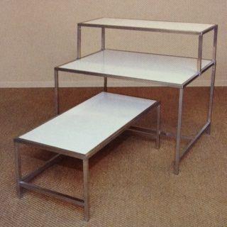 Display Tables Matte White Melamine Top Lounge Seating