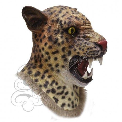 MASCARELLO Latex Full Head Overhead Leopard Animal Masks Cosplay Masquerade Fancy Dress Up Carnival Mask