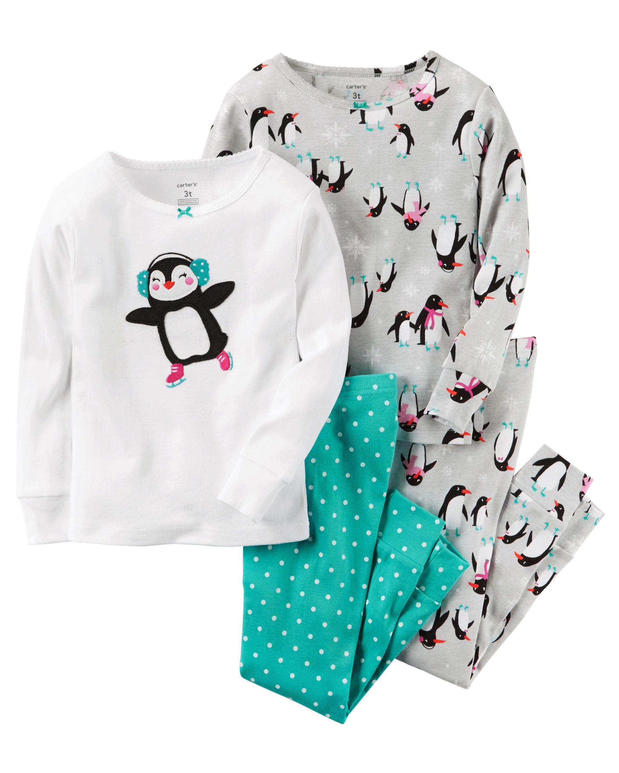 95f2247c49ae Toddler Girl 4-Piece Snug Fit Cotton PJs