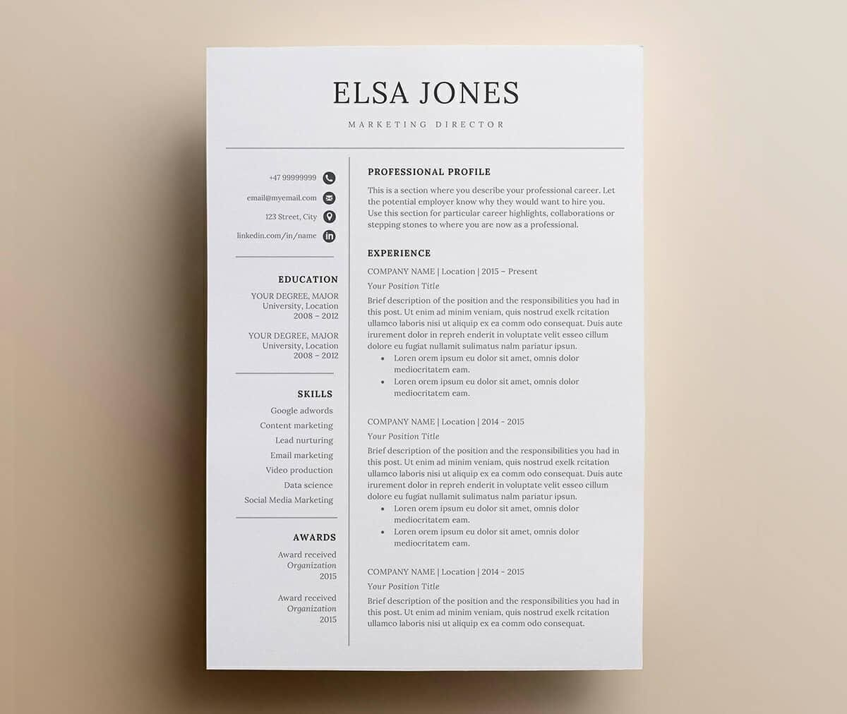 Clean Basic Resume Example With Elegant Font Resumes