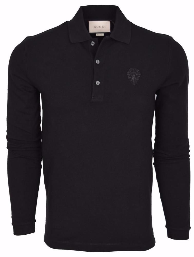 43fa6dbec12 New Gucci Men s 441690 Black SLIM Fit Hysteria Crest Cotton Polo Shirt  Large  Gucci  PoloRugby