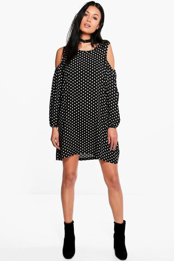 boohoo Marie Polka Dot Cold Shoulder Swing Dress 688982e21