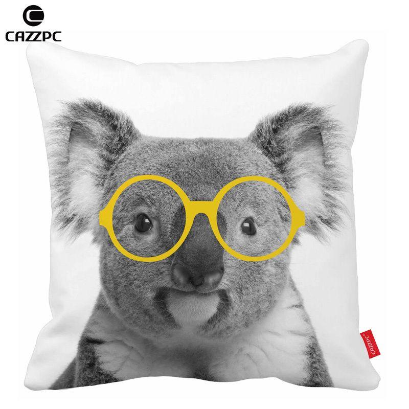 Linda en blanco y negro Koala amarillo gafas coche decorativo funda ...