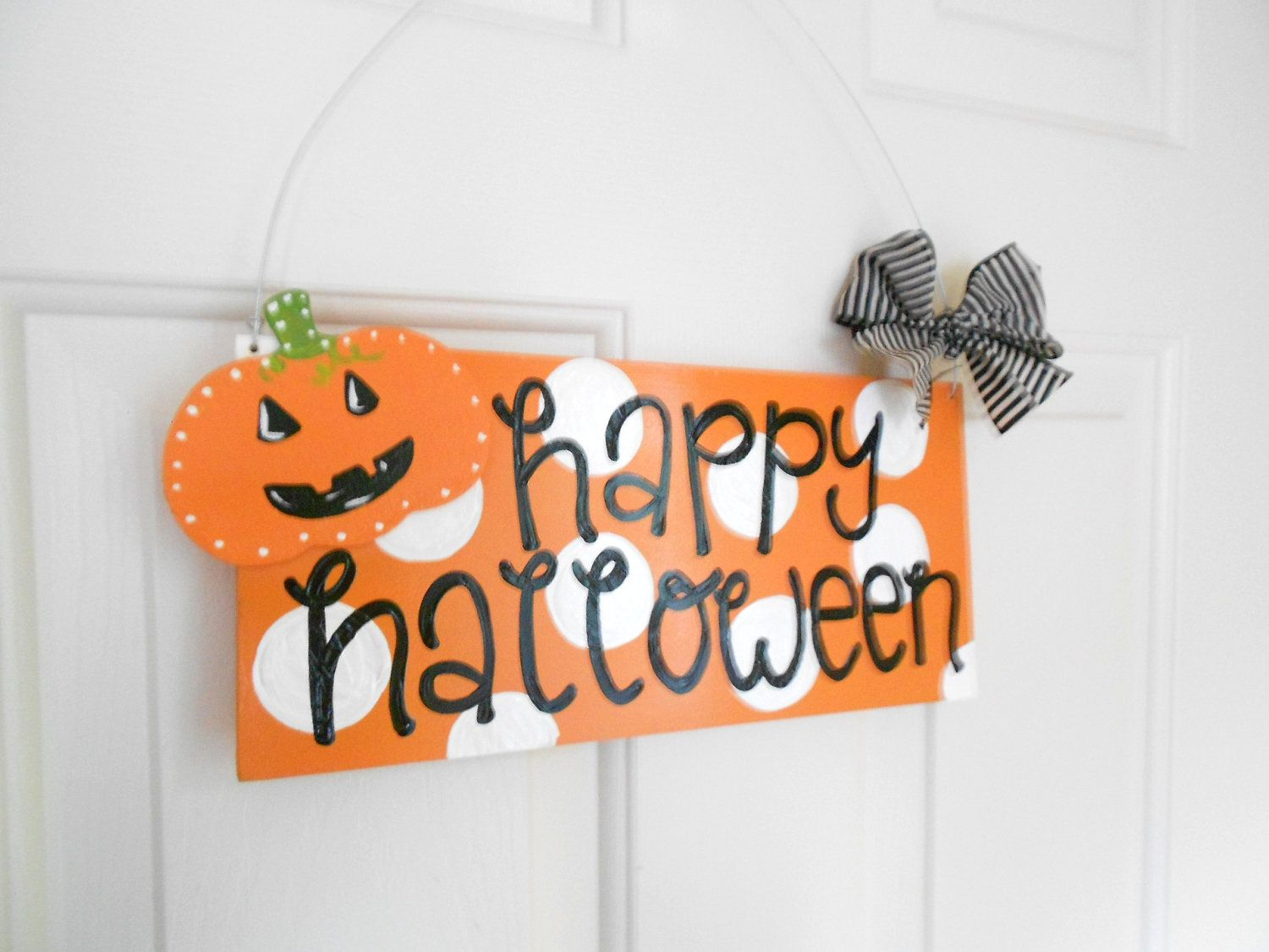 Happy Halloween Polka Dot Pumpkin Sign - halloween signs - cute polka dot signs. $27.95, via Etsy.