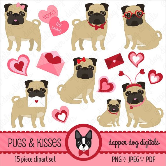 Pug Clipart Set Valentine S Commercial Use Vector Images