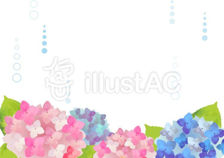無料素材水彩 雨 あじさい 背景イラスト Illustration