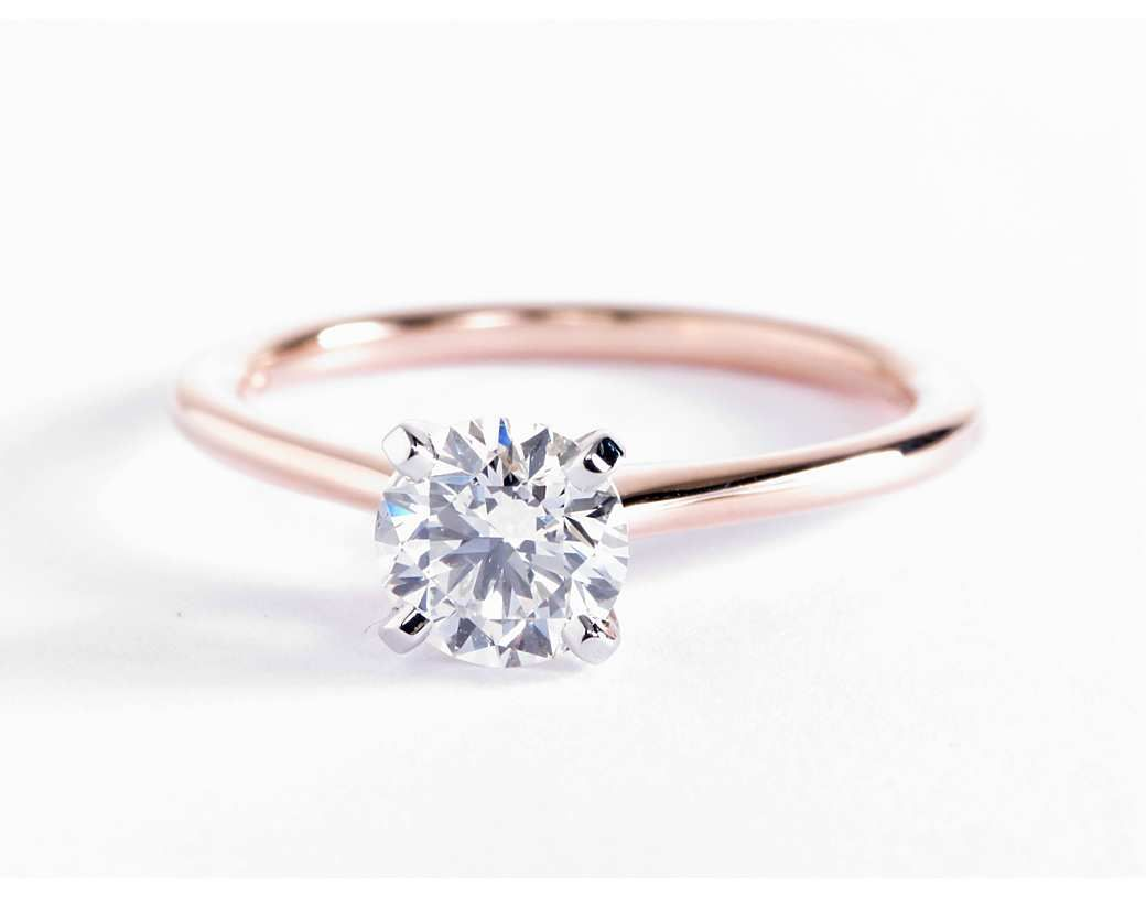 Petite solitaire engagement ring in k rose gold solitaire