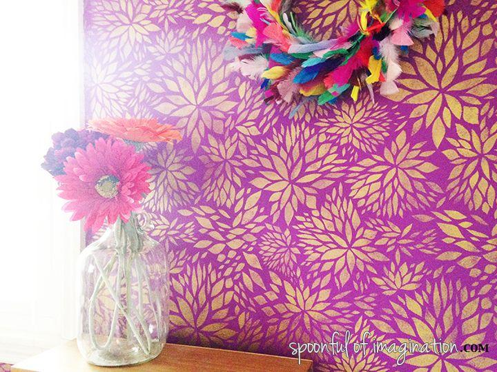 Petal Play Floral Damask Wall Stencil | Dreamy Decorative ...