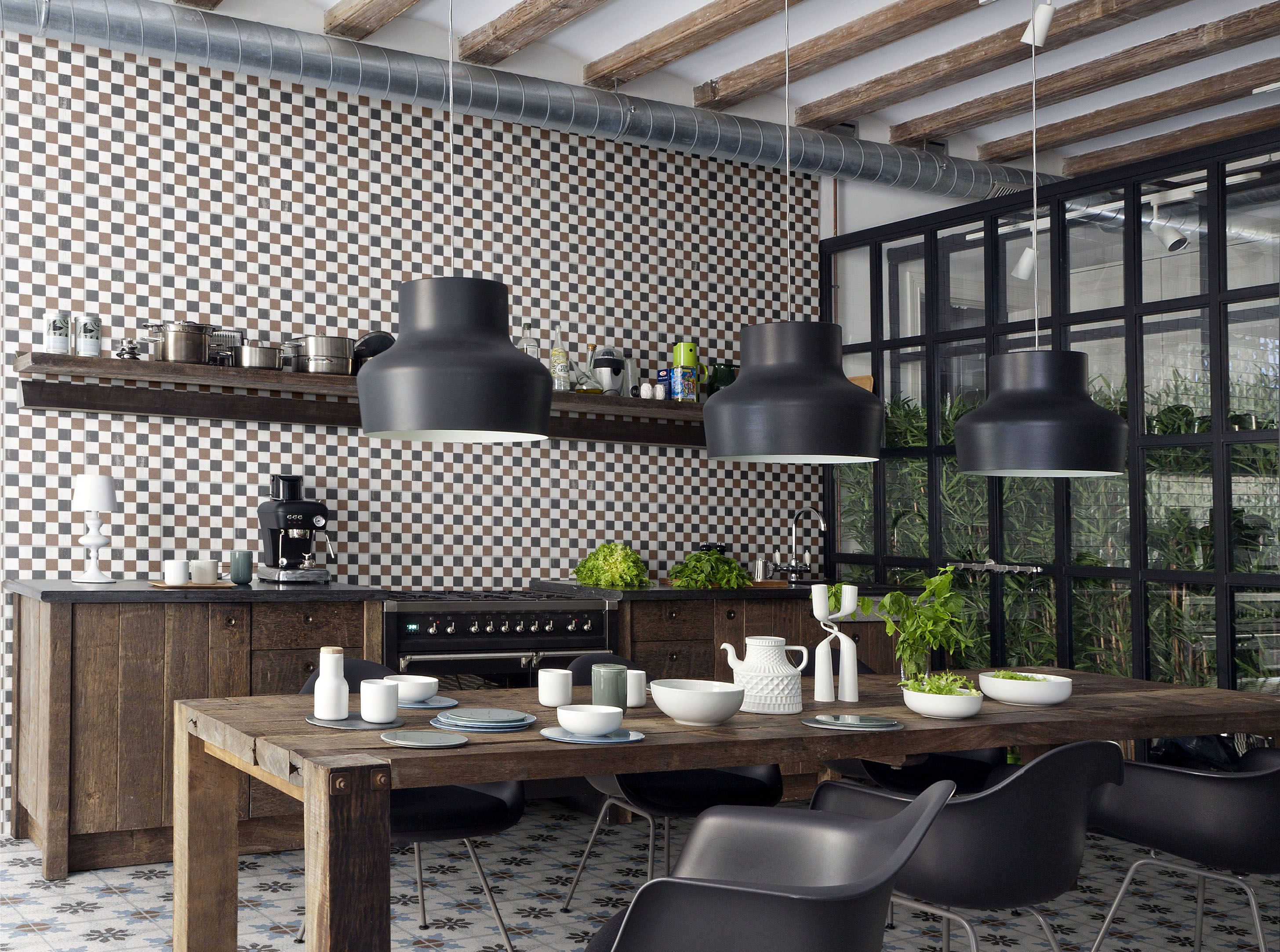 Decoration Modern Industrial Kitchen Cemetine Porcelain Tile Wall