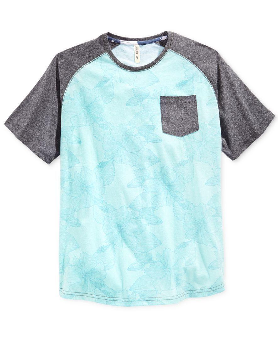 Univibe Men's Jaded Floral-Print Raglan-Sleeve Pocket T-Shirt
