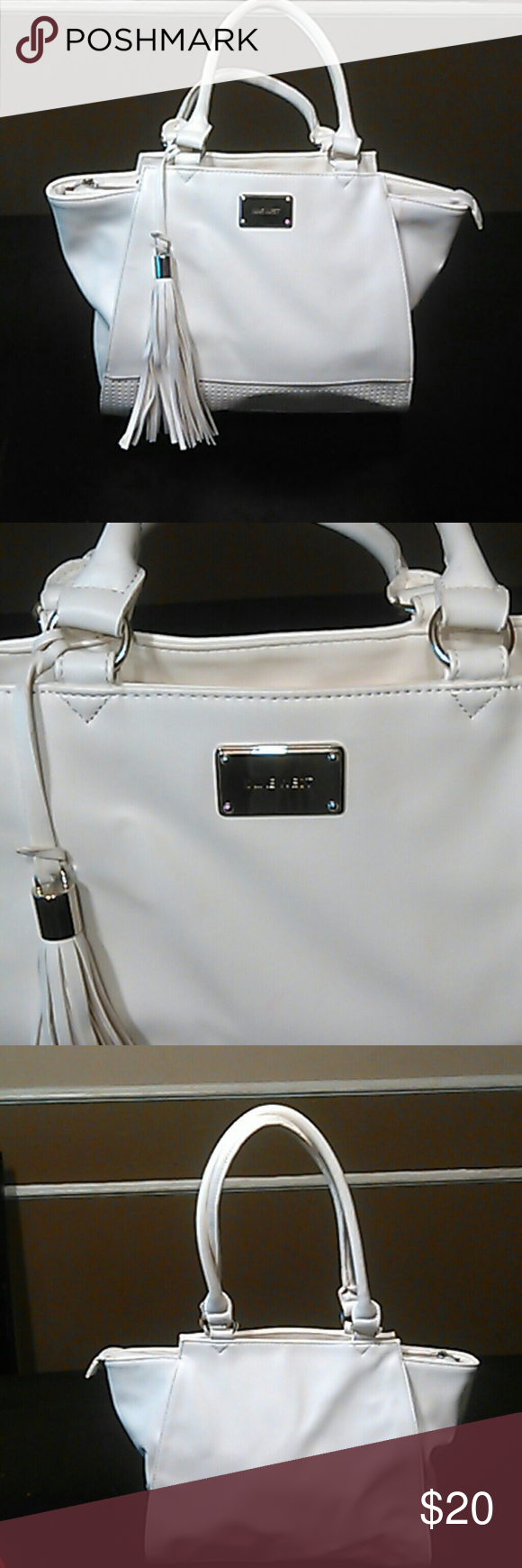 Nine west large white tote Used good condition small faint pink  spot on front as well as small Brown spot as shown in pic Nine West Bags Totes