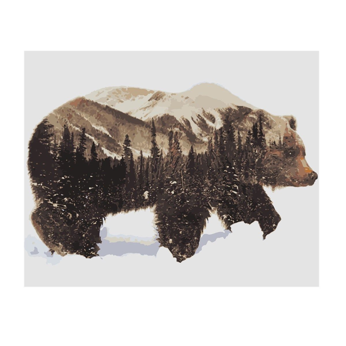 Winter Snow Bear DIY Acrylic Paint By Number Kit Oil Painting Canvas Wall Decor