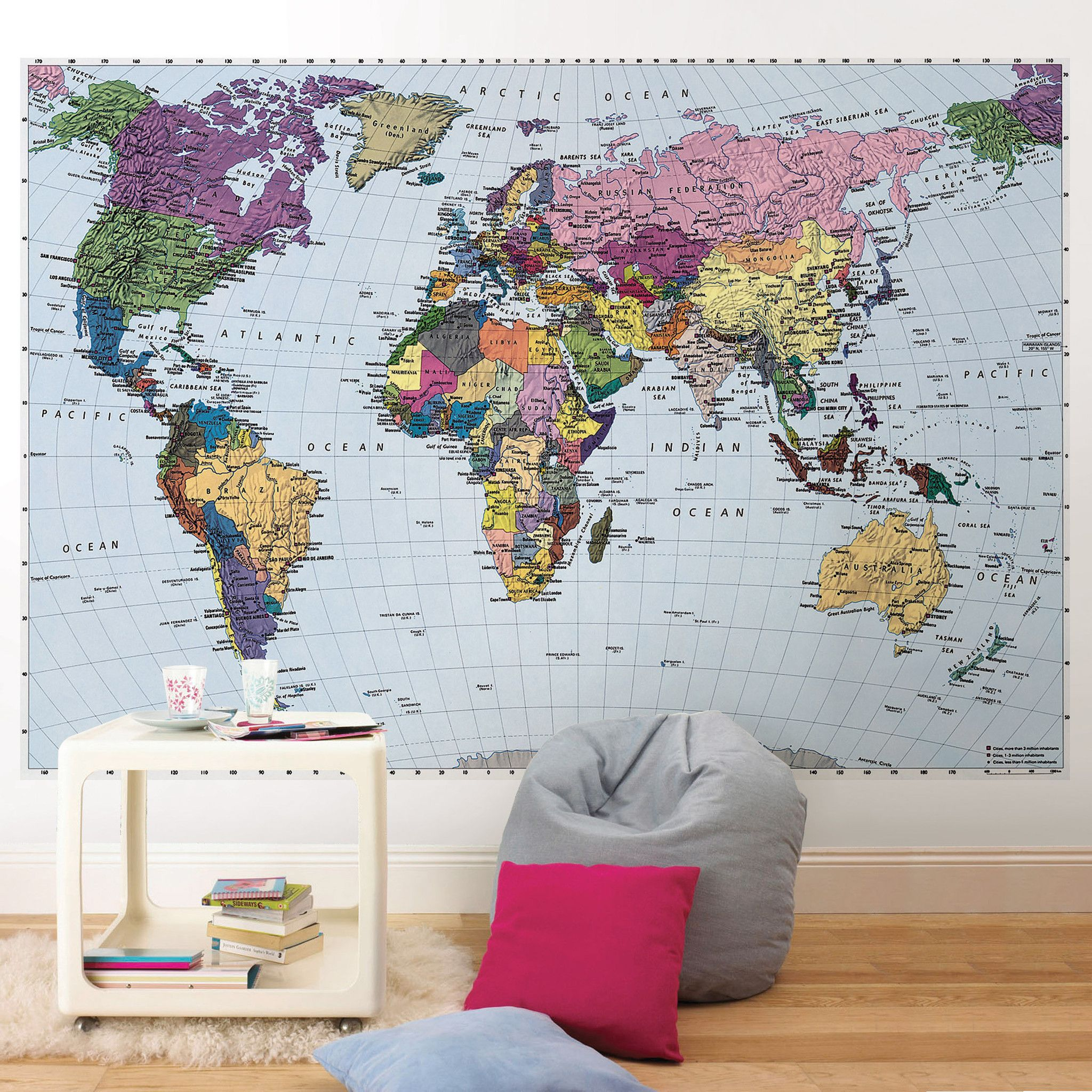 Colorful world map wall mural wallpaper wall murals wallpaper and colorful world map wall mural wallpaper gumiabroncs Image collections