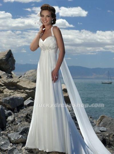 Affordable Empire Waist Spaghetti Straps Brush Train Chiffon Beach Wedding Dress At June Bridals Over 8000 Chic Bridesmaid Prom Dresses
